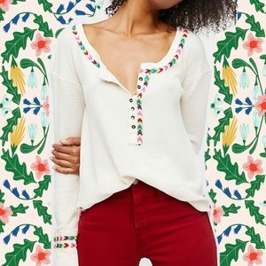 We The Free People Rainbow Thermal Top Embroidered